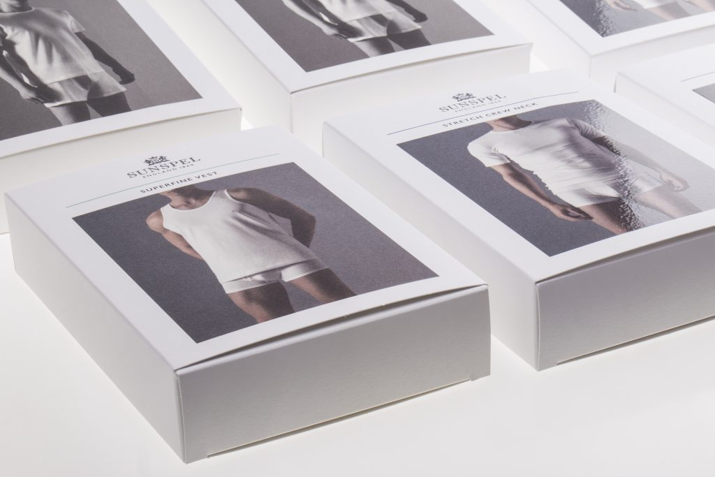 Product Packaging – it's not Pants!  Sunspel packaging from Simply Luxe